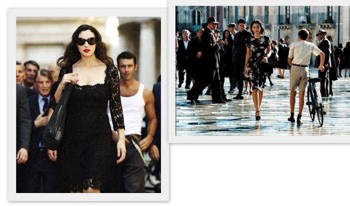 """слева - реклама D&G, справа - кадр из фильма """"Малена"""""""