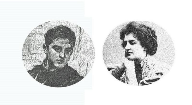 на фото: Философов Д.В. ( фрагмент с рисунка В.Серова )  и  Гиппиус З.Н.