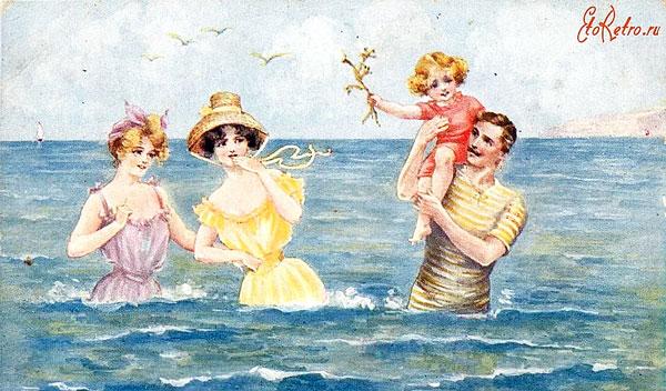 летние купания, ретро -открытка