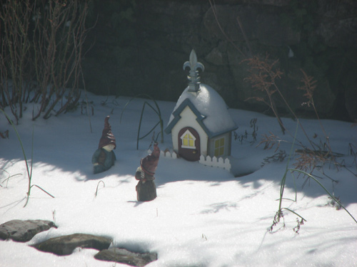 snow on the gnome home