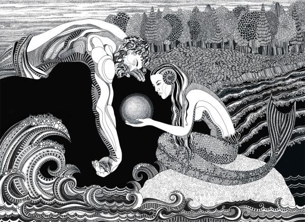 """Иллюстрация к сказке """"Речной мёд"""""""