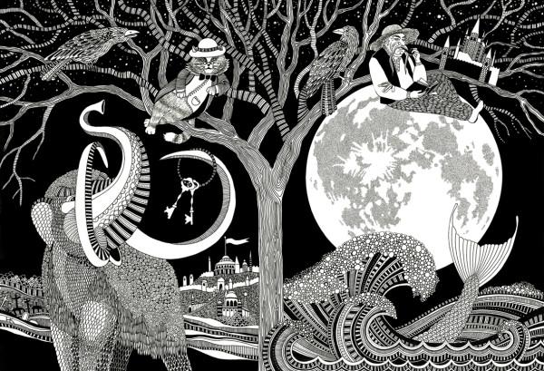 Иллюстрация к обложке литературного сборника Гоголь фэнтези 202, формат А3