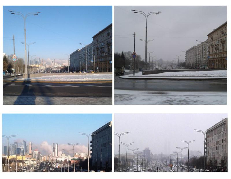 Было-стало. Разница в два дня. Вид на Москва-сити от Октябрьской площади 10 и 13 марта 2021