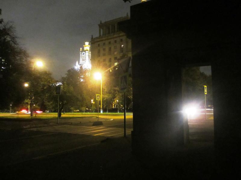 10.09.16, 23:13 — улица Менделеевская, вид на ГЗ МГУ  со стороны улицы Ак. Хохлова