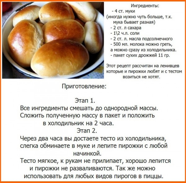 Рецепт дрожжевого теста для пирожков быстрого приготовления