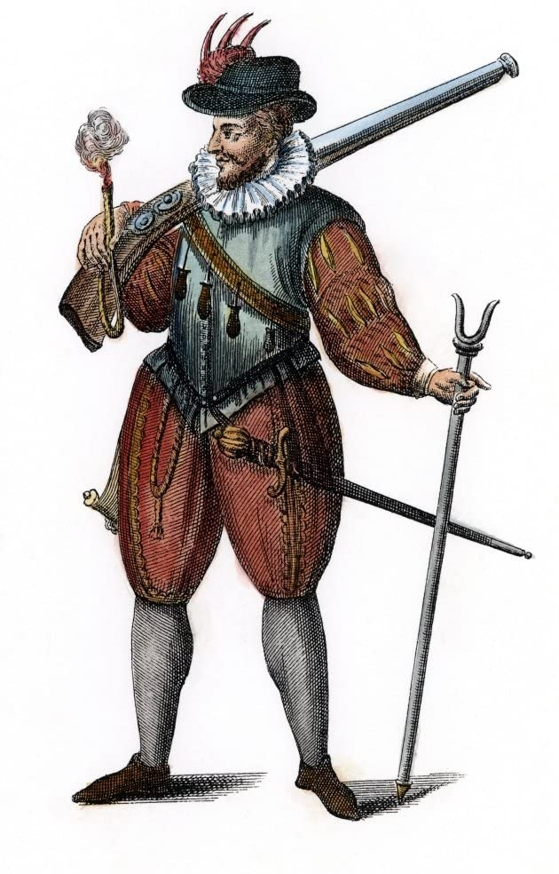Безусловный герой дня у гугенотов. Хотя мы и не знаем, сколько раз ему на помощь приходила в тот день конница. Ну, и очень уж чисто одет и хорошо снаряжён...