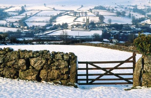 Snowy fields Devon