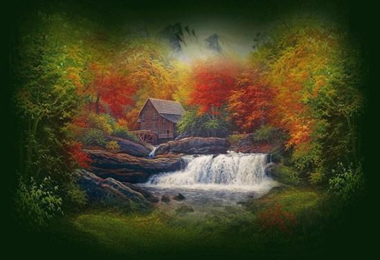 Trees & waterfall