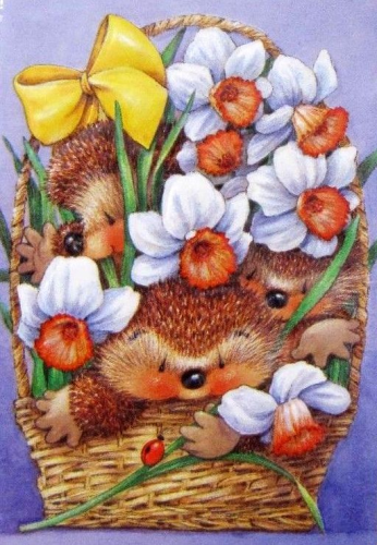 CC Hedgehog & flowers