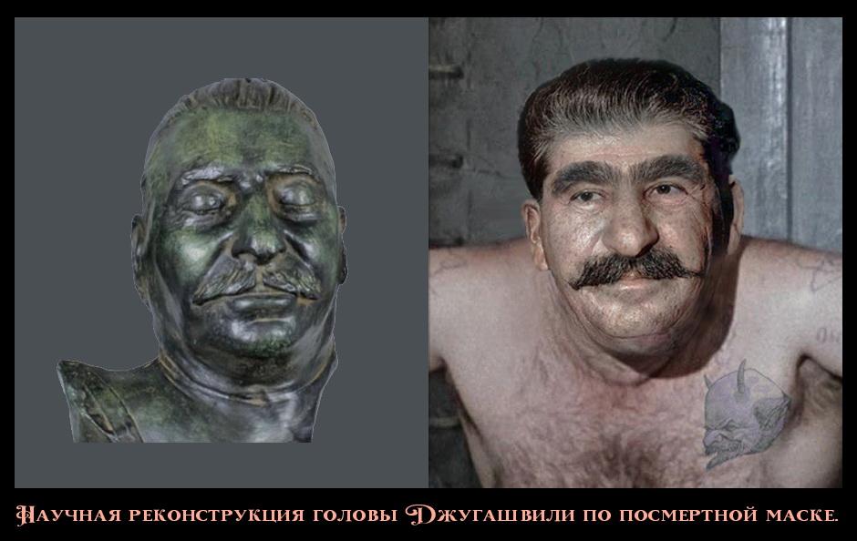 Научная реконструкция головы Джугашвили по посмертной маске.