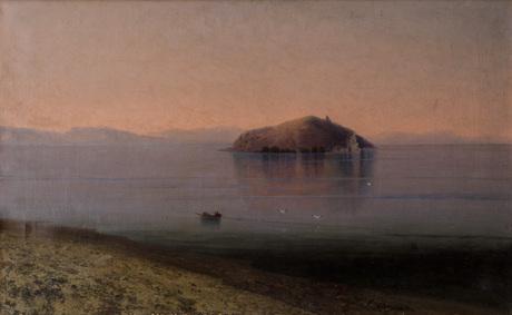 """""""Озеро Севан и остров утром"""" 1896, Георг Башинджагян"""