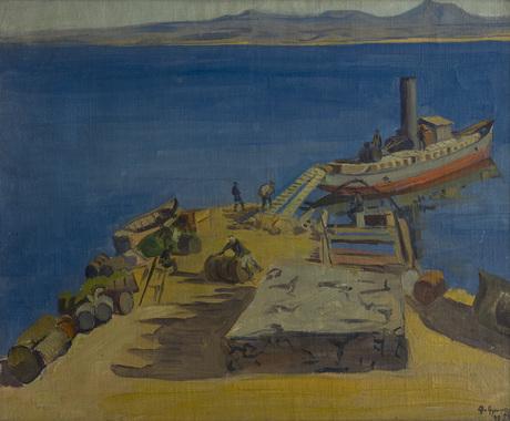 """""""Пристань на Севане"""" 1926 Габриэл Гюрджян"""