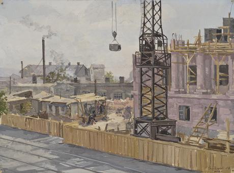 """Левон Налбандян """"Ереван. Строительство"""" 1953"""