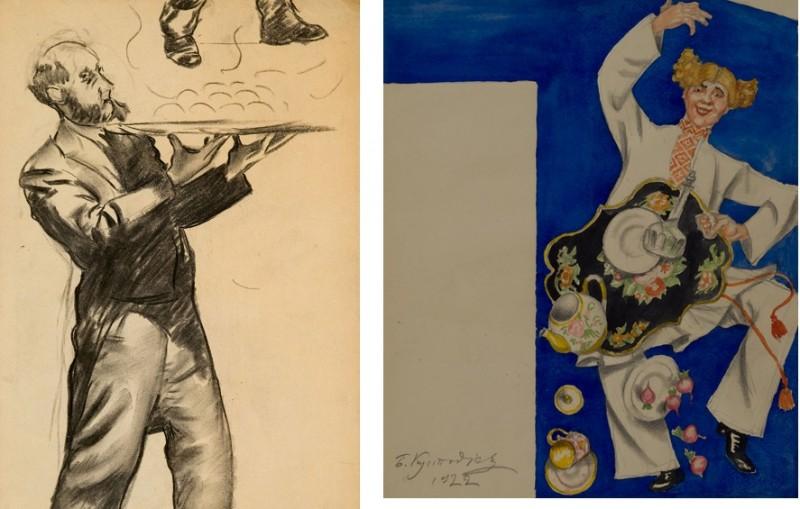"""Слева - рисунок из коллекции галереи """"Альбион"""", справа - законченный эскиз. На обоих картинках - """"Половой"""""""