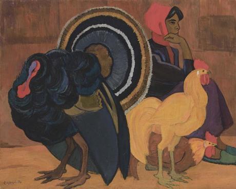 """Владимир Айвазян """"Девушка с индюшкой"""" 1983 Национальная галерея Армении"""