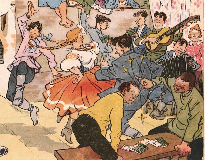 """Художник И. Семенов журнал """"Крокодил"""" №33 1956, фрагмент"""