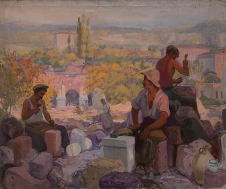"""Ваграм Агабабян  """"Каменотесы"""" 1947, Национальная галерея Армении"""