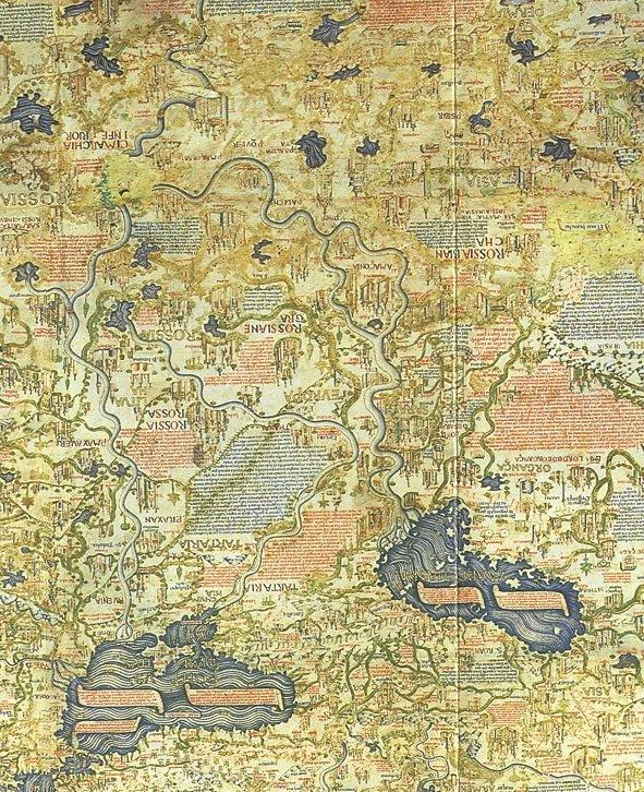 1460Карта венецианского монаха Фра Мауро 1460 года, ориентирована с юга на север. Отчетливо читаем Rossia negra и Rossia biancha