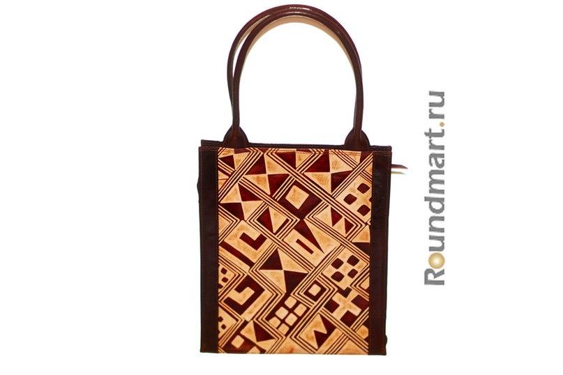сумка натуральная кожа Геометрия коричневая спереди