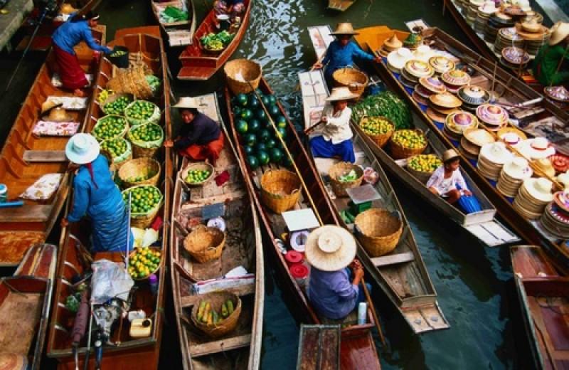 Плавучий рынок Дамноен Садуак  Бангкок Сити