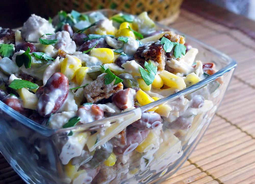 Салаты из фасоли с курицей рецепты простые и вкусные