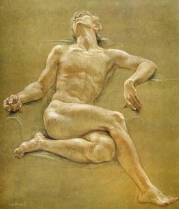 Рисунок мужской обнаженной фигуры