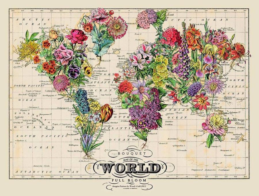 Карта мира из цветов