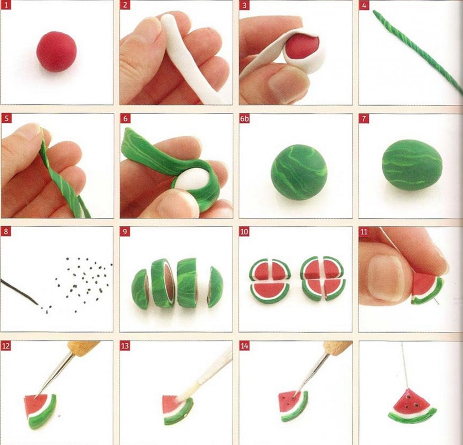 Как сделать арбуз из пластилина видео