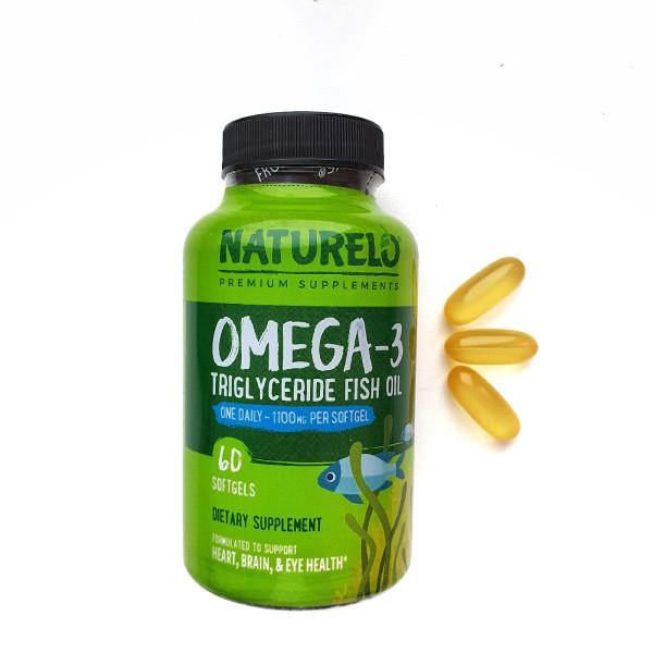 NATURELO, омега-3, рыбий жир в форме триглицеридов, 1100 мг, 60 мягких таблеток