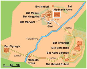 Карта храмового комплекса Лалибела