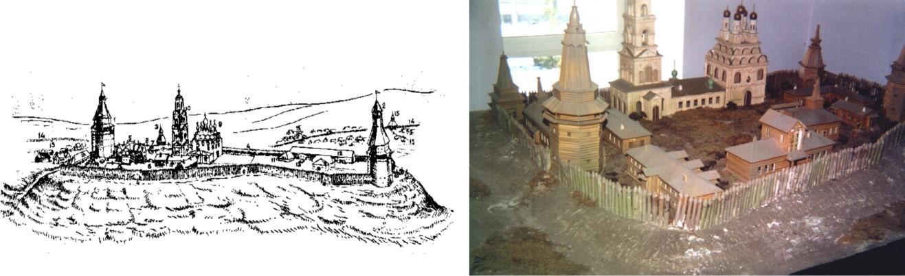 Рис. 25. Уфимский Кремль. Рисунок и реконструкция