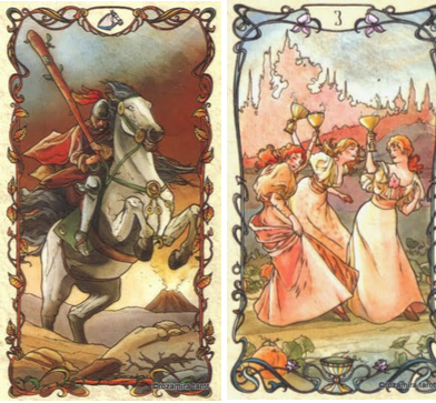 Таро А.Мухи: Рыцарь Жезлов, Тройка Кубков