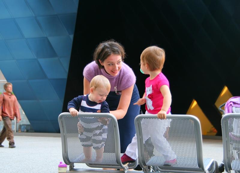 Lavrishina blog dark decolette dress with both kids MOMA plaza SF