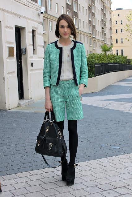 Ella-Lapetiteanglaise-Shorts-Suit-Tweed-Mint-Fall-2012-Vogue-Festival-London