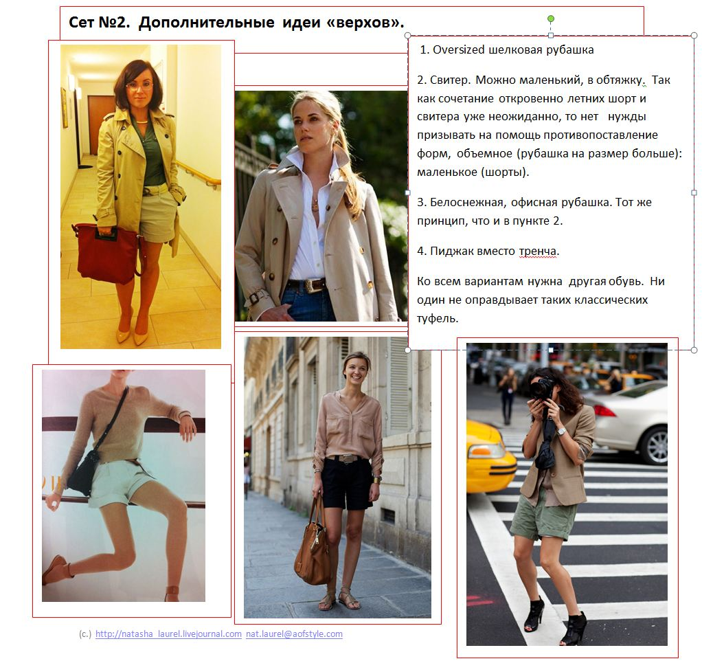 Lavrishina blog look makeover 10 shorts w trench spread two alternative tops