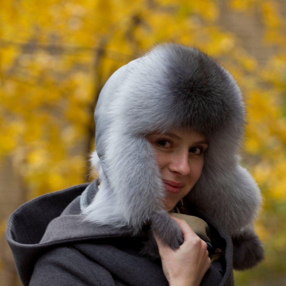 шапка ушанка крашеный песец