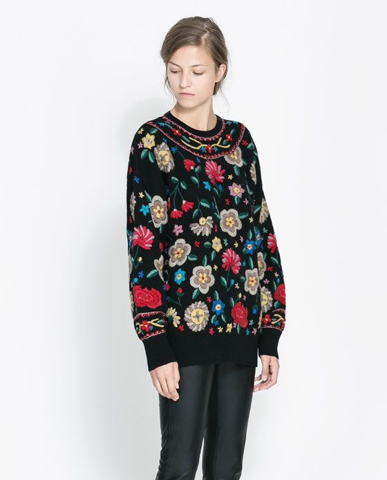 zara peasant floral sweater