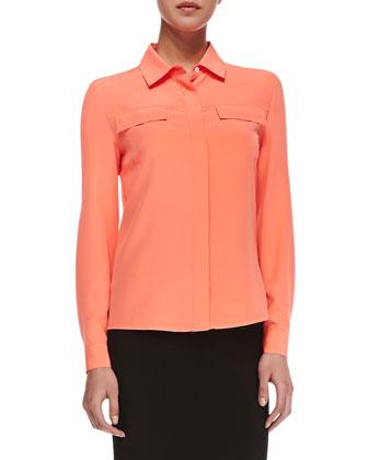 Neiman Marcus Coral Silk Utility Shirt