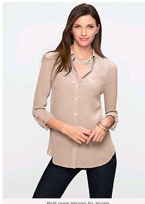 Talbots Chino Silk Cargo Shirt
