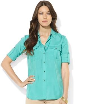Ralph Lauren Teal Silk Utility Shirt