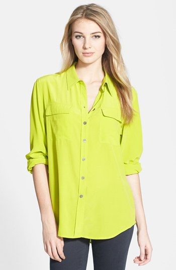 Vince Camuto Acid Green Silk Cargo Shirt