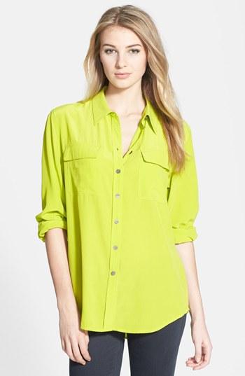 Vince Camuto Acid Green Silk Cargo Shirt