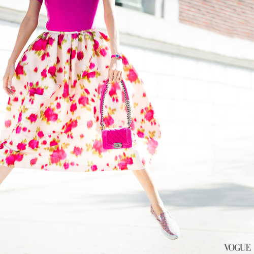 vogue full skirt with glitter slipons