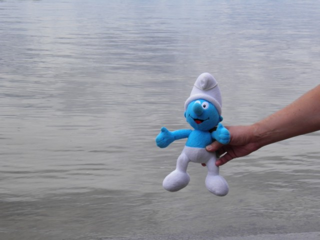 Smurf thinks about swimming in Saimaa lake