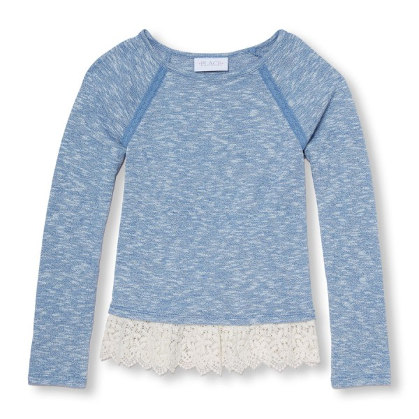 Girls Long Sleeve Lace Hem Sweater-Knit Top, 577р..jpg
