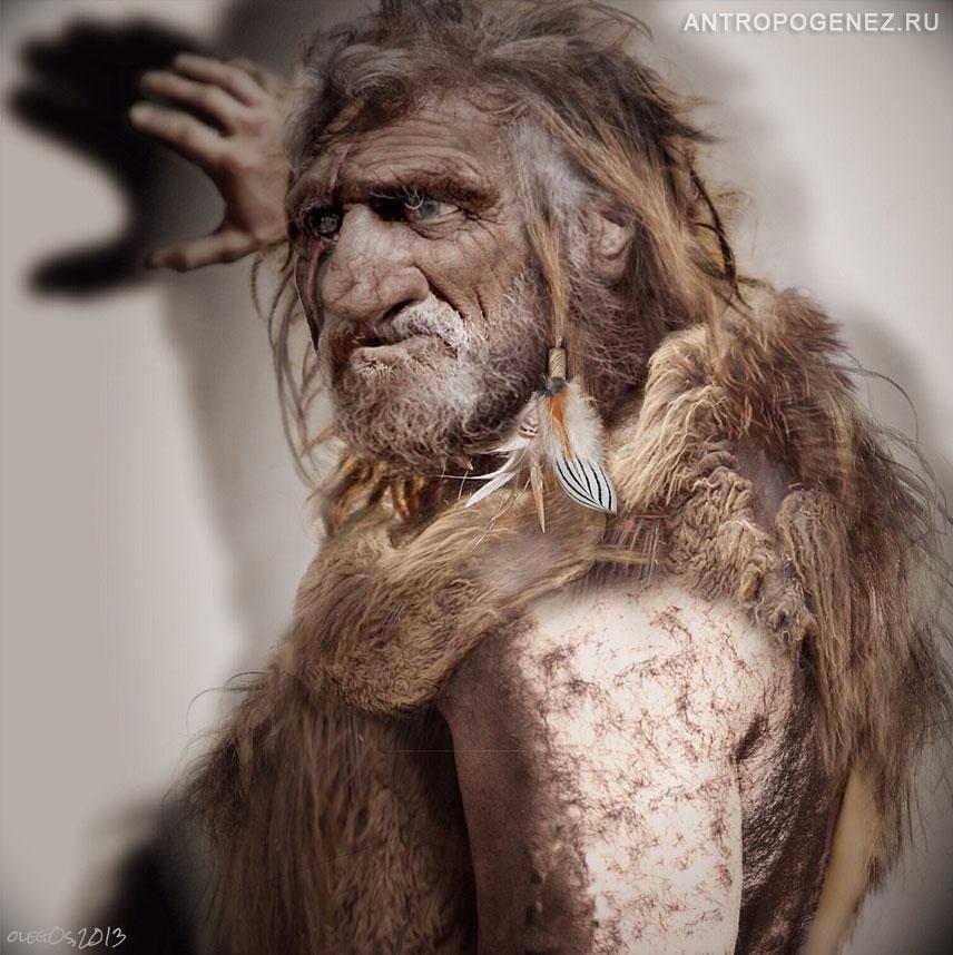 Вот такой красавчик он Homo neanderthalensis, наш с вами родственник )))