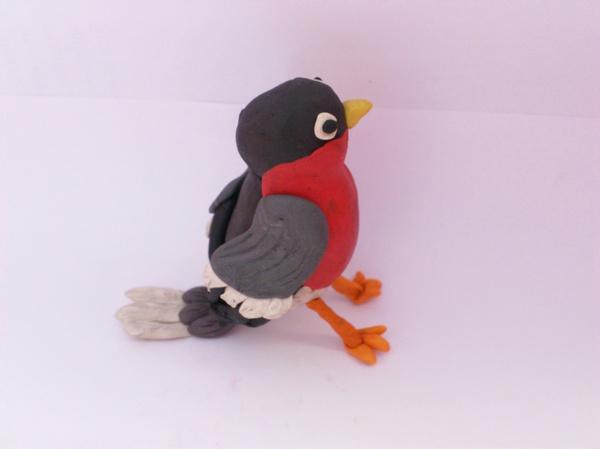 лепим из пластилина, поделки из пластилина, лепим птичку, лепим снегиря