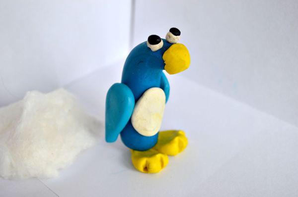 лепим из пластилина, поделки из пластилина, лепим птичку, лепим из пластилина пингвина