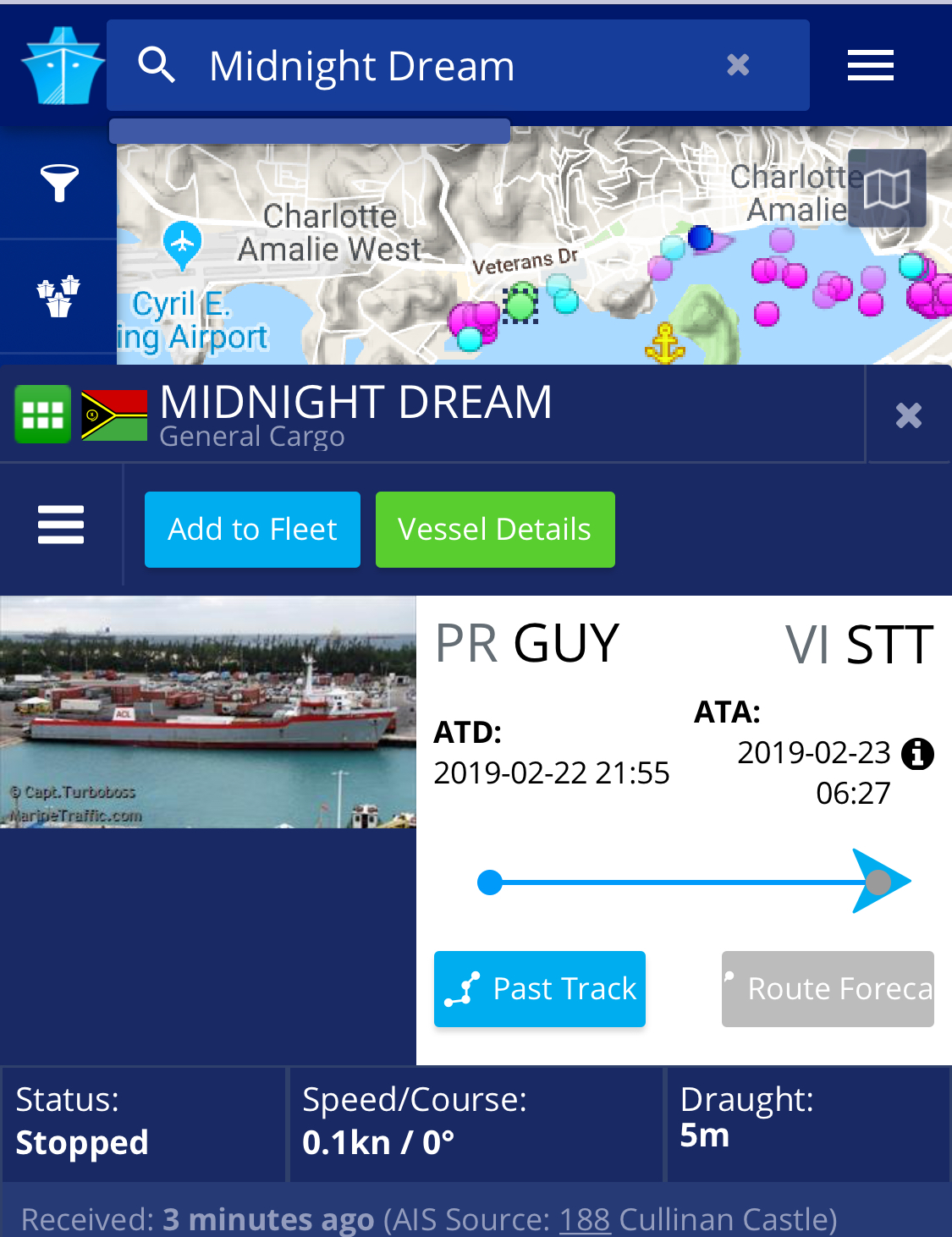 Screenshot from Marinetraffic.com 24 Feb 2019