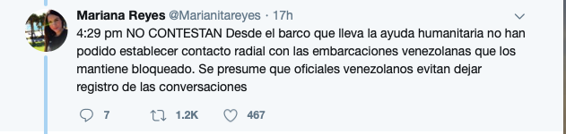 "Earlier tweet stating that the ship was unable to establish radio contact with the Venezuelan ships, translation of last sentence: ""Presuming that Venezuelan officials are avoiding the recording of (radio) conversations""."